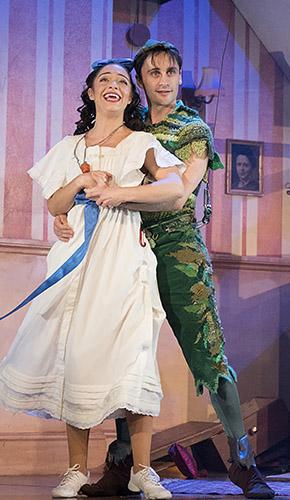 Katy Daghorn and Ciaran Kellgren in Peter Pan Goes Wrong - Credit Alastair Muir