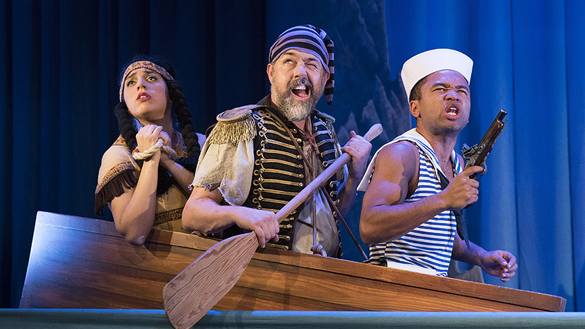 Phoebe Ellabani, Oliver Senton and Romayne Andrews in Peter Pan Goes Wrong - Credit Alastair Muir